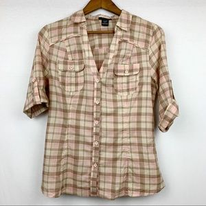 Timing Two Pocket Button Up Short Sleeved Plaid